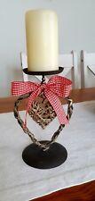 Kerzenständer Kerzenleuchter Weide mit hängendem Herz & roter Schleife