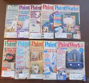 LOT Of 10 PAINT WORKS MAGAZINES FOR DECORATIVE PAINTERS Art 1993 12994 1995