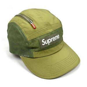 NWT Supreme Box Logo Zip Pocket Mesh Camp Cap Hat Olive Men's FW20 AUTHENTIC
