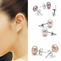 Trendy Women's Girls 925 Sterling Silver Freshwater Pearl Ear Stud Earrings