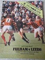 23.11.80 Fulham v Leeds programme. John Player Trophy Fulham's 1st season