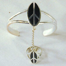 SILVER OVAL PEACE SIGN SLAVE BRACELET #14 cuff new RING silver women jewelry set