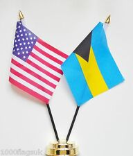 United States of America & Bahamas Double Friendship Table Flag Set