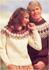 "His&her Chunky Nordic Fair Isle Yoke Sweaters Knitting Pattern Large 40"" to 50"""