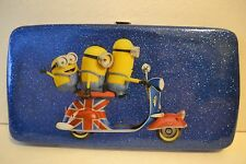Despicable Me Minions in London Hardcase Wallet British Flag Glittery Blue - NWT