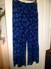 Timeless GHOST Stunning Wide Leg Blue Spotty Trousers Large Worn Once