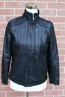 Lisa International Black Faux Leather Jacket Women's Size PS