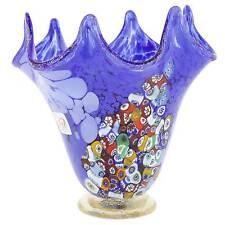 GlassOfVenice Murano Glass Millefiori Fazzoletto Vase - Blue