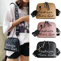 Women Crossbody Bag PU Leather Shell Wide Shoulder Strap Messenger Bags Handbags