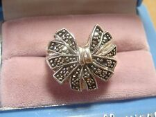 sterling silver bow marcasite 925 ring 7 estate jewelry