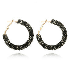 Fashion Women Elegant Hook Earrings Crystal Ear Stud Dangle Hoops Jewelry 3c Black