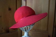 Vintage M'sieu Leon Red Felt Feather Ladies Splendora Hat Floppy Brim