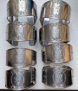 Vintage Custom Craft Monogrammed Napkin Rings letter H Stainless Set Of 8 Korea