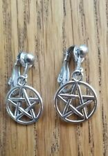 Gothic Pentagram, Wiccan, Silvertone Clip On Earrings Steampunk Goth Pagan Magic