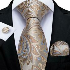 USA Beige Blue Silk Jacquard Paisley Tie Set Necktie Hanky Cufflinks Wedding