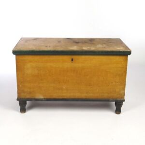 Antique Blanket Chest Grain Painted Mustard Dovetailed 19th c