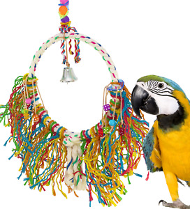 1038 HUGE FUZZ ROPE RING BIRD TOY parrot cage toys cages cockatoo macaw amazon
