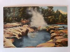 1940s Crater of the Oblong Geyser Yellowstone National Park Linen Postcard