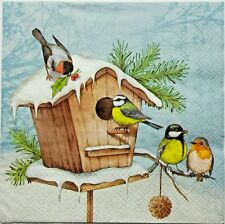 BIRDS WINTER SNOW 2 single LUNCH SIZE  paper napkins for decoupage 3-ply