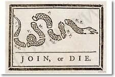 Join or Die - Ben Franklin - NEW Historical Fine Art Poster