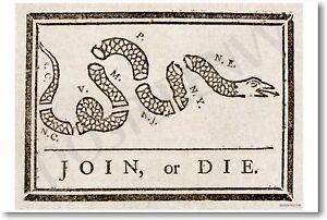Join or Die - Ben Franklin - NEW Historical Fine Art Poster