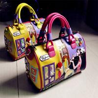Women Colourful Embroidery Cartoon Leather Messenger Travel Handbag Shoulder Bag