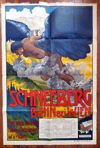 Original 1898 SCHNEEBERGBAHN bei WIEN Alfred Roller Art RR Advertising Poster