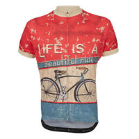 Life Is A Beautiful Ride Cycling Jersey Retro Road Pro Clothing MTB Short Sleeve