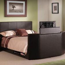 Julian Bowen Optika TV Bed - Brown Faux Leather -  Stylish Modern Bed