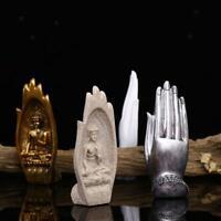 Bouddha En Résine Assis Dans La Main Sculpture 1 Paire Figurine De Statue