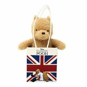 Disney Classic Winnie The Pooh Plush Toy in Union Jack Bag