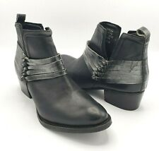 Diba Skyler Ankle Boot 8.5 Black Leather Silver Knotted Strands Trim Pull On