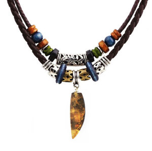 Charms Mens Jewelry Leather Choker Necklaces Handmade Natural Baltic Amber