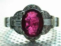 14kt solid white gold Tourmaline & Genuine 1 ct tdw diamond ladies ring