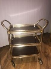 Vintage 60s 70s 3 Tier Gold hostess / tea/ drinks trolley