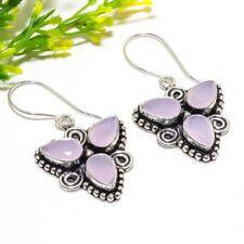 "Pink Jade Gemstone Silver Fashion Jewelry Earring 1.85"" SE-1702"