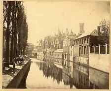 Belgique, Bruges, Canal, Vue générale Vintage albumin print Tirage albuminé