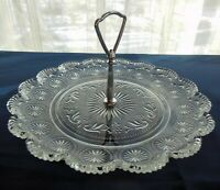 "Brockway Glass Clear American Concord Sandwich 10"" Handled Tidbit Tray Plate"