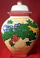 Nonni's Hand Painted Made Biscotti Canister Cookie Jar Grapes Grapevine Lid Seal
