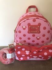 More details for loungefly disney minnie mouse pink polka dot bow backpack detachable fanny pack
