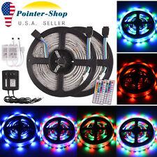 2 x 5M 3528 SMD RGB 300LED Waterproof LED Strip Light 44 Key Remote 12V 2A Power
