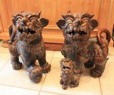 Paar Tempel-Wächter Löwenhunde sehr schöne Patina glasierte Keramik