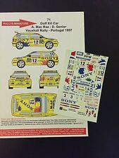 DECALS 1/43 VW VOLKSWAGEN GOLF KIT CAR MC RAE RALLYE VAUXHALL 1997 RALLY BRITISH
