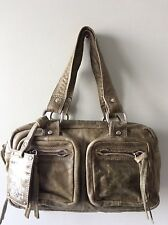 JANE NORMAN real leather olive green small tote style handbag
