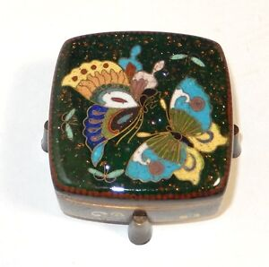 RARE OLD JAPANESE CLOISONNE GREEN ENAMEL BUTTERFLY BOX