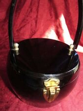 VINTAGE UNIQUE ROUND WILARDY SHINY BLACK LUCITE PURSE WITH MIRROR!!