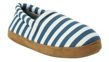 NEW BLUE STRIPED Comfort View Women's Memory Foam House Slippers Shoes - LARGE
