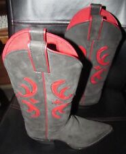 Justin C4546 Black Apache Ladies Cowboy Boots with Red Accents Size 8B