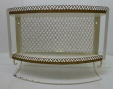 VTG WHITE AND GOLD METAL 2 TIER WALL SHELF WITH TOWEL RACK AND LATTICE BACK