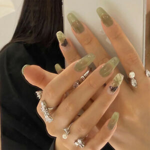 Fashion 24Pcs Green Gradient Fake Nails Long Coffin Full Press On Nails Manicure